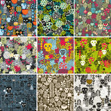 Set of floral seamless patterns with funny skulls Stock Photo