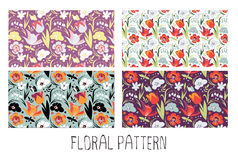 Set of floral seamless patterns Royalty Free Stock Images