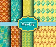 Set of floral seamless patterns - may-lily Royalty Free Stock Images