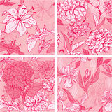 Set of 4 Floral Seamless Patterns in pink colors. With handdrawn flowers - tiger lilly, orchid, gardenia and peony Stock Photos