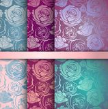 Set of floral seamless patterns Stock Photos