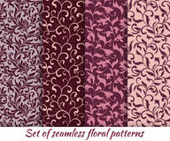Set of floral seamless patterns in vintage style. Stock Photos