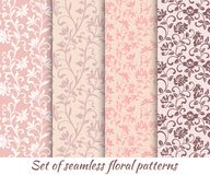 Set of floral seamless patterns in vintage style. It can be used to create wallpaper, textile, background vector illustration
