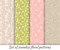 Set of floral seamless patterns in vintage style. Texture for print, wallpaper, home decor, textile, package design, invitation or website background stock illustration