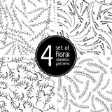 Set of 4 floral seamless patterns on white background Royalty Free Stock Photos
