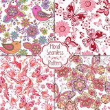 Set of floral seamless pink patterns with birds, butterflies and hearts. Vintage flowers seamless ornament. royalty free illustration