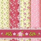 Set floral seamless for scrapbook. Stock Photos