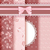 Set floral seamless for scrapbook. Stock Photography
