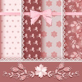 Set floral seamless for scrapbook. Royalty Free Stock Photo