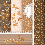 Set floral seamless for scrapbook. Stock Image