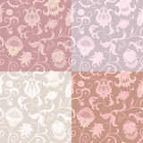 Set of 4 floral seamless vector patterns. Beautiful ethnic ornament. Wedding backgrounds Stock Image