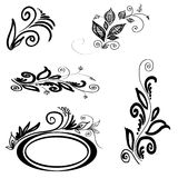 Set of floral silhouettes. Set of vegetable elements, silhouettes.  Square illustration EPS Stock Image