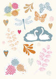 Set of Floral Stickers Stock Photo