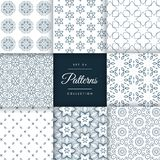 Set of floral style patterns set in different shapes Stock Images