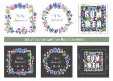Set of Floral Summer Greeting Cards Design Royalty Free Stock Photography