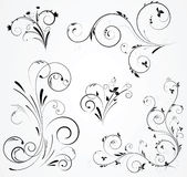 Set of floral swirl designs