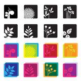 Set of floral symbol icons. Set of 12 icons with floral designs and flower silhouettes stock illustration