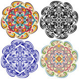 Set of  floral tattoo. Mandala in vintage, blue, oriental color Stock Photography