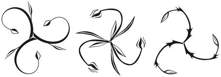 Set of floral Triskeles Stock Photos