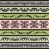 Set of floral vector borders Royalty Free Stock Photos
