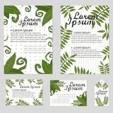 Set of Floral vector cards Design with green leaves - elegant greenery. Vector garden illustration, Invitation Royalty Free Stock Photos