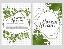 Set of Floral vector cards Design with green leaves - elegant greenery. Vector garden illustration, Invitation Stock Image