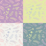 Set of 4 floral vector seamless patterns. Stock Photography