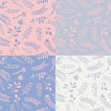 Set of 4 floral vector seamless patterns. Stock Photo