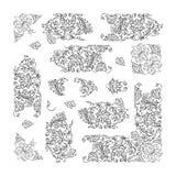 Set of floral vignette, design elements Royalty Free Stock Images