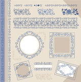 Set floral vintage borders and frames stock illustration