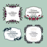 Set of floral vintage calligraphic frames and Royalty Free Stock Photos