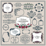 Set of floral vintage calligraphic frames and Royalty Free Stock Photography