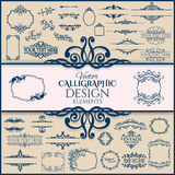 Set of floral vintage calligraphic frames and Royalty Free Stock Image