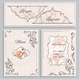 Set floral vintage ornament menu, cards and invitations Royalty Free Stock Image