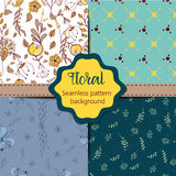Set of Floral vintage seamless pattern collection Royalty Free Stock Images