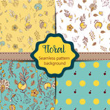Set of Floral vintage seamless pattern collection Stock Photos