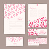 Set of floral vintage wedding cards, invitations or announcement Stock Images