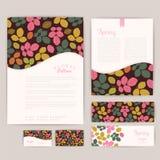 Set of floral vintage wedding cards, invitations. Wedding invita Stock Photos