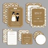 Set of floral vintage wedding cards. Wedding Stock Photography