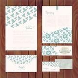 Set of floral vintage wedding cards on wood texture, invitations Stock Photo