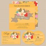 Set of floral vintage wedding invitation cards Royalty Free Stock Photos