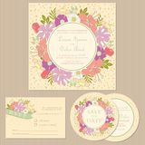 Set of floral vintage wedding invitation cards Stock Images