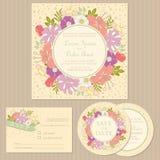 Set of floral vintage wedding invitation cards Stock Images