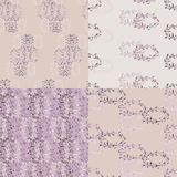 Set of floral violet seamless pattern Royalty Free Stock Photo