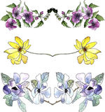 Set of floral watercolor borders Stock Photo