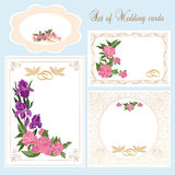 Set of floral wedding cards. Decorative floral design for wedding invitation cards vector illustration