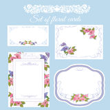 Set of  floral wedding cards. Royalty Free Stock Photos