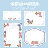 Set of floral wedding cards. Decorative floral design for wedding invitation cards royalty free illustration
