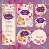 Set of floral wedding cards Royalty Free Stock Photos