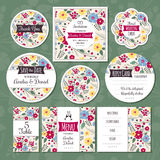Set of floral wedding cards Stock Photo